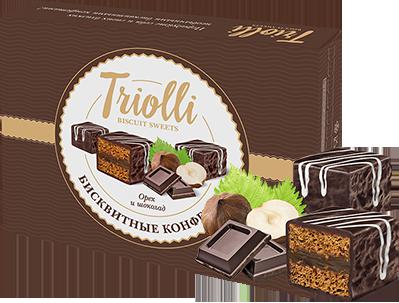"""Бисквитные конфеты TRIOLLI с восхитительной начинкой """"Орех и шоколад"""""""
